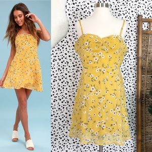 Lulu's | Daisies Go By Floral Mustard Mini Dress